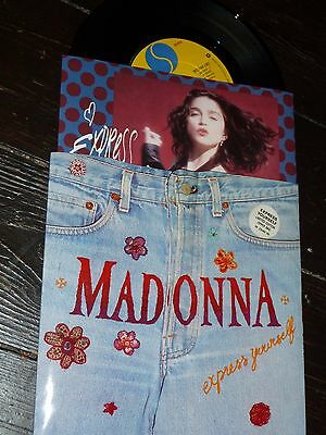 """Madonna EXPRESS YOURSELF UK ZIPPER BAG Sleeve Limited Edition 7"""" RARE NEW 1989"""