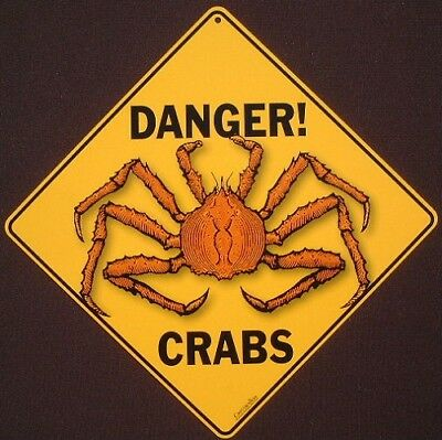 DANGER CRABS ALUMINUM CROSSING Sign decor novelty home  picture signs home crab