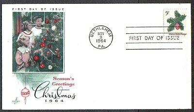 Us Fdc 1964 Christmas 5C Stamp-D Art Craft First Day Of Issue Cover Bethlehem Pa