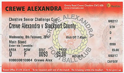 2017-CREWE ALEX v STOCKPORT COUNTY-8/2/17-CHESHIRE SENIOR CUP-TICKET