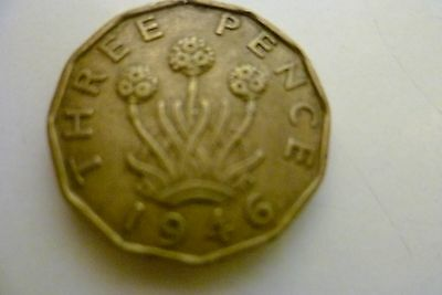 1946  Brass  Threepeny  Coin