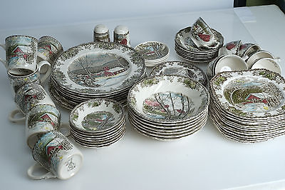 Huge Lot of Johnson Brothers FRIENDLY VILLAGE 58-Pieces China Set