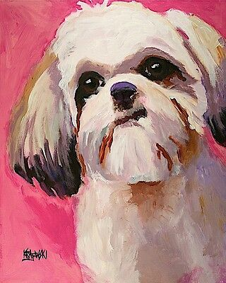 Shih Tzu Dog 8x10 signed art PRINT RJK painting