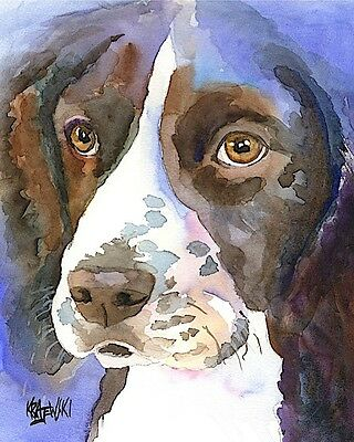 Springer Spaniel Art Print Signed by Artist Ron Krajewski Painting 8x10 English