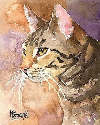 Tabby Cat Art Print Signed by Artist Ron Krajewski Painting 8x10