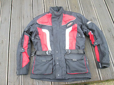Rsr Size Xl Black Red Knox Ce Approved Armour Textile Motorcycle Jacket