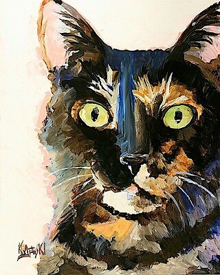 Tortie Cat Art Print Signed by Artist Ron Krajewski Painting 8x10