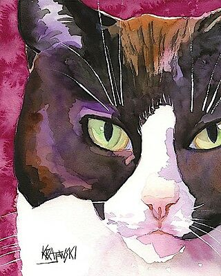 Tuxedo Cat Art Print Signed by Artist Ron Krajewski Painting 8x10