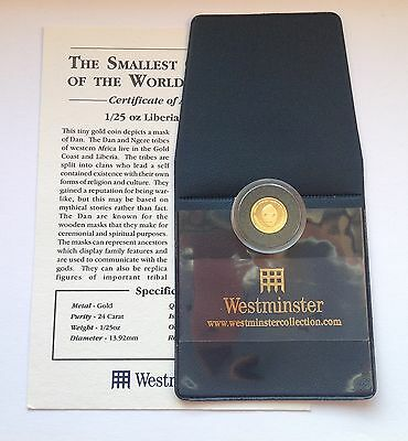 .999  24ct MASK OF DAN PROOF  GOLD COIN WITH WESTMINSTER COA (LIBERIA)