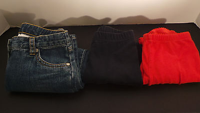 Lot of 3 Girl's Long Pants - Jeans, Red/Black Stretch - US 6 Tea - FREE SHIPPING