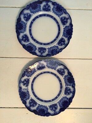 "Antique W H Grindley Baltic Pattern Flow Blue 9.75"" DINNER PLATE SCALLOPED EDGE"