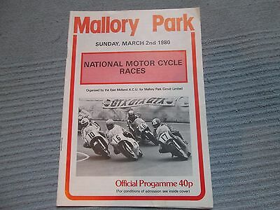 MALLORY PARK NATIONAL MOTOR CYCLE RACES SUN MARCH 2nd 1980 OFFICIAL PROGRAMME