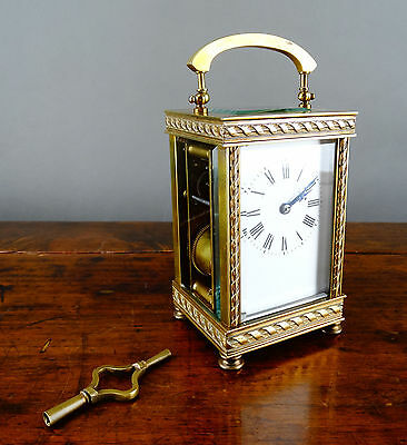Antique Victorian French Brass Carriage Clock Gong Strike Chiming 8 Day c1880
