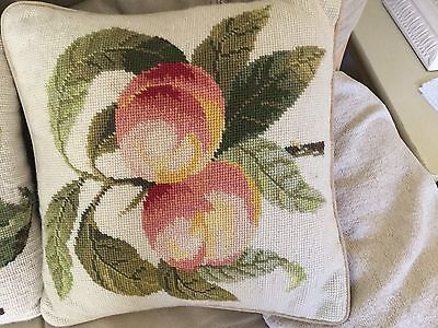 Completed Tapestry Cushion Cover Peaches Finished Needlepoint