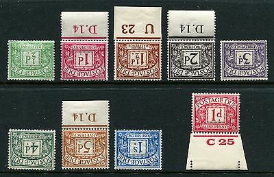GB GREAT BRITAIN GV sg d1-d8 POSTAGE DUES MNH U/M/MINT INVERTED SET d9 UPRIGHT