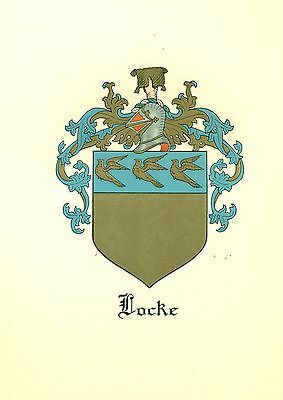 *Great Coat of Arms Locke Family Crest genealogy, would look great framed!