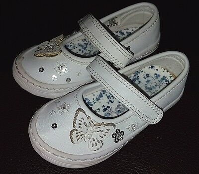 Baby Girls Next White Floral Leather Plimsoles Velcro Shoes Size 3