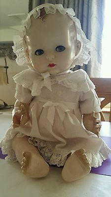 Beautiful Vintage Hard Plastic Pedigree Baby Doll, 18 inches tall 1940's 50's