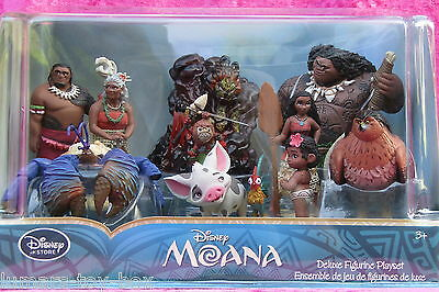 Moana Deluxe 10 Piece Figure Figurine Playset by Disney Store NEW Cake Toppers