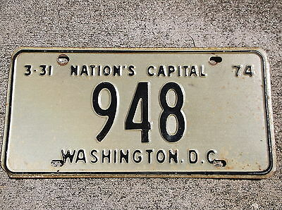 District of Columbia 1973 / 74 License Plate #  948