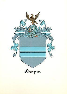 *Great Coat of Arms Chapin Family Crest genealogy, would look great framed!