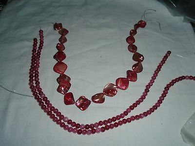 "Job Lot - 2 x 15"" strands Crimson Agate Beads + strand large coated shell beads"