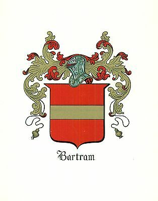 *Great Coat of Arms Bartram Family Crest genealogy, would look great framed!