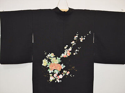 Vintage Japanese Ladies' Beautiful Floral Black Silk Mix Kimono Haori Jacket S/M