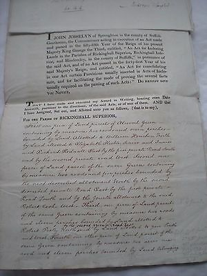 Rickinghall Superior (Suffolk) Inclosure to Mr Robert Cooke Dated 1819