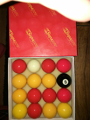 """Supapro Red & Yellow 2"""" Pool Balls (Standard Size)"""
