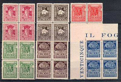 Mm778-Egeo1929 **mnh Pittorica I^ Emissione In Quartine Integre Cat.1320,00