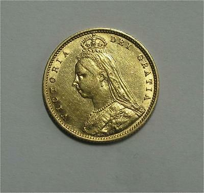1892 United Kingdom Gold 1/2 Sovereign Coin Queen VICTORIA Luster