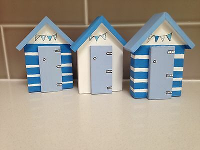 Beach Huts blue and white  Set Of 3 seaside Nautical Wooden ornaments