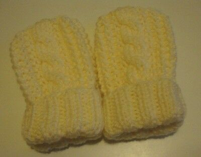 Hand Knitted Baby Mittens/Cable Design, Cream, 0-6 Mths, BNWOT,