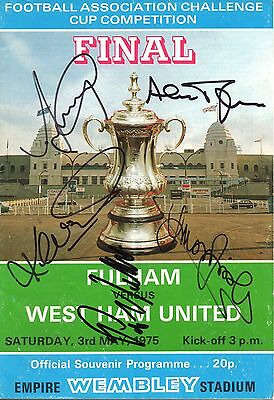 AUTOGRAPHED 1975 FA Cup Final Programme - Fulham vs West Ham United