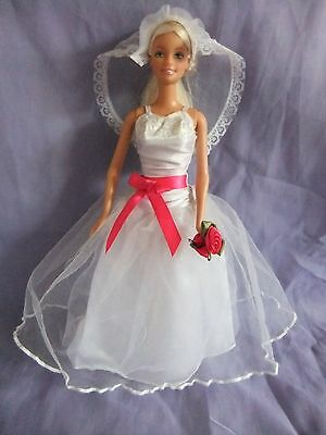 barbie doll wedding bride clothes dress fashion gown outfit veil shoes