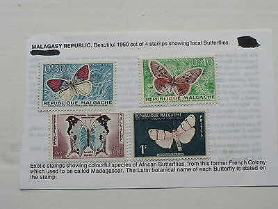 4 Stamps from Malagasy Republic (Madagascar) Showing Butterflies