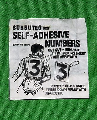 Subbuteo Number Stickers