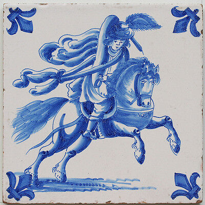 19th century Dutch Delft horseman tile