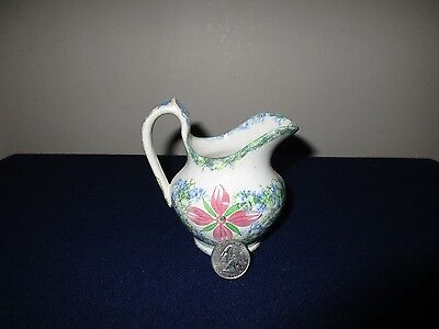 Antique 19th C Staffordshire Porcelain Spatterware Adams Pink Rose Small Creamer