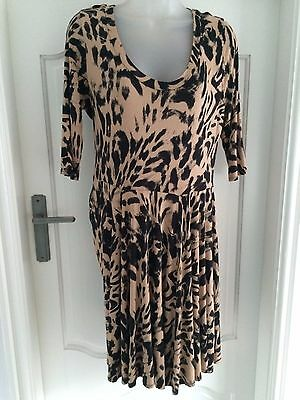 Wallis Lovely Taupe & Black  Animal Print Tea Dress 3/4 Sleeves Size 14