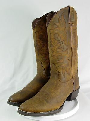 NEW JUSTIN STAMPEDE 2561 Men 9.5-EE Tan Leather Western Horse Cowboy Boots