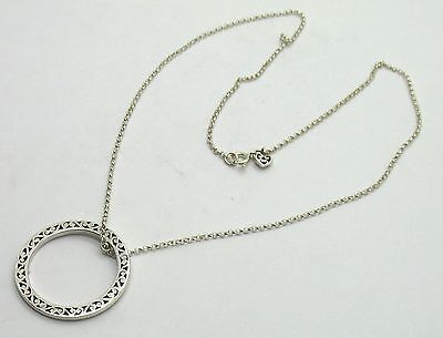 New Lois Hill Silver Chain Necklace W/cutout Ring Pendant.
