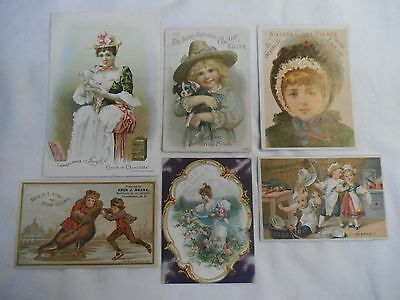 Lot- 6 Antique Victorian Trade Ad Cards-Shoes,Franco American,Cough Killer,Stove