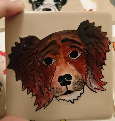 hand painted dog tile / coaster 10cm x 10cm