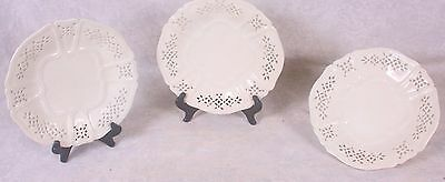 Set 3 Vintage Mottahedeh Designs of Italy Reticulated Creamware Dessert Plates