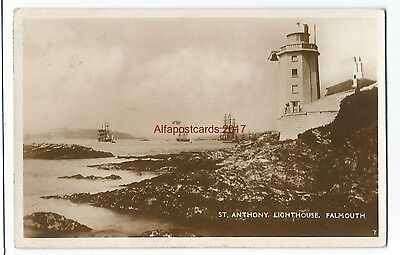 Cornwall St Anthony Lighthouse Falmouth Harbour Real Photo Vintage Postcard