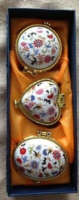 Three Sweet Flowered Ceramic Pill Boxes 1.5 - 2 inches