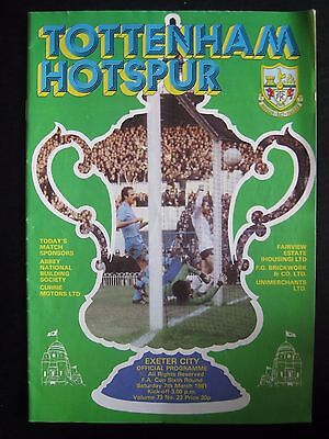TOTTENHAM HOTSPUR  v EXETER CITY  1980/81  FA CUP 6th Round