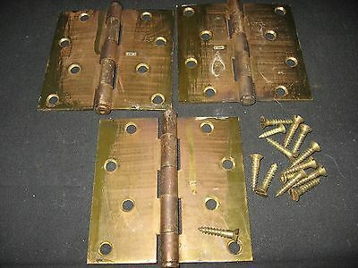 3 Heavy Antique Brass Plated Steel Door Hinges